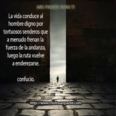 La vida conduce al hombre digno por tortuosos senderos que a menudo frenan la fuerza de la andanza,luego la ruta vuelve a enderezarse. Confucio.