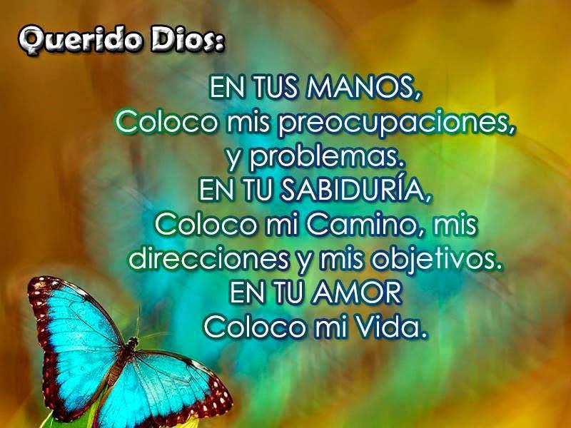 En tus manos coloco mis preocupaciones, y problemas en tu sabiduría, coloco mi camino, mis direcciones y mis objetivos. En tu amor coloco mi vida.