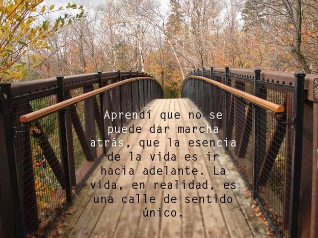 Aprendí que no se puede dar marcha atrás, que la esencia de la vida es ir hacia adelante.  La vida, en realidad, es una calle de sentido único.