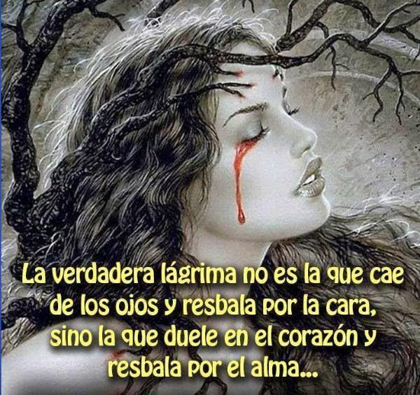 La verdadera lágrima no es la que cae de los ojos y resbala por la cara, sino la que duele en el corazón y resbala por el alma…