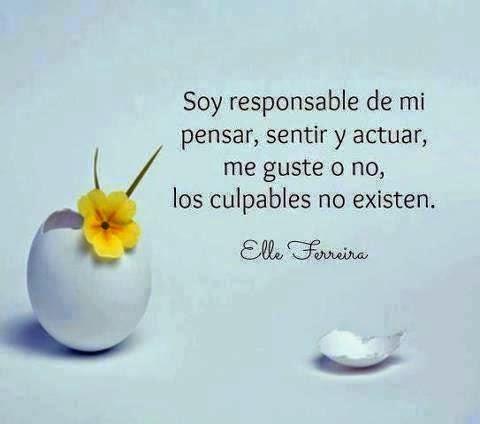 Soy responsable de mi pensar, sentir y actuar, me guste o no, los culpables no existen.
