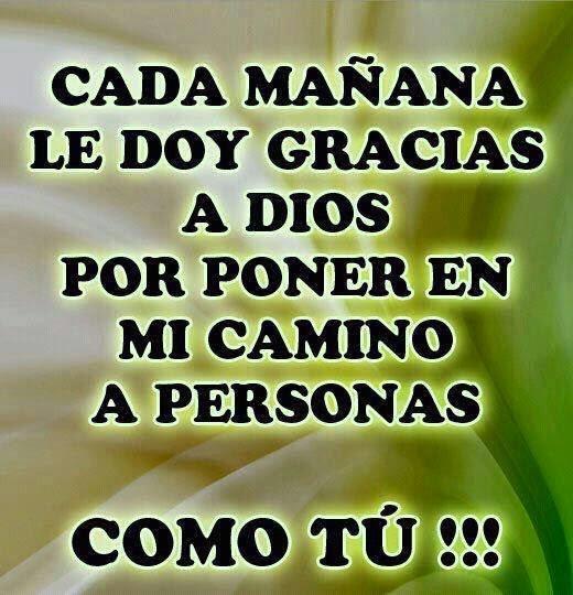 Cada mañana le doy gracias a Dios por poner en mi camino a personas como tú.