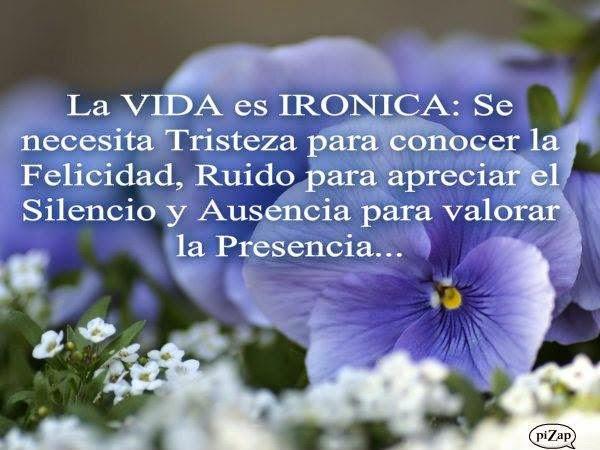 La vida es irónica: Se necesita Tristeza para conocer la Felicidad, Ruido para apreciar el Silencio y Ausencia para valorar la Presencia…
