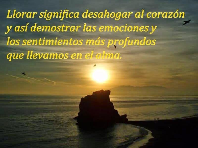 Llorar significa desahogar al corazón y así demostrar las emociones y los sentimientos más profundos que llevamos en el alma.