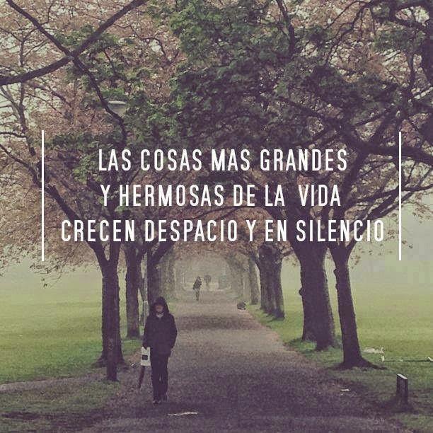 Las cosas mas grandes y hermosas de la vida crecen despacio y en silencio.