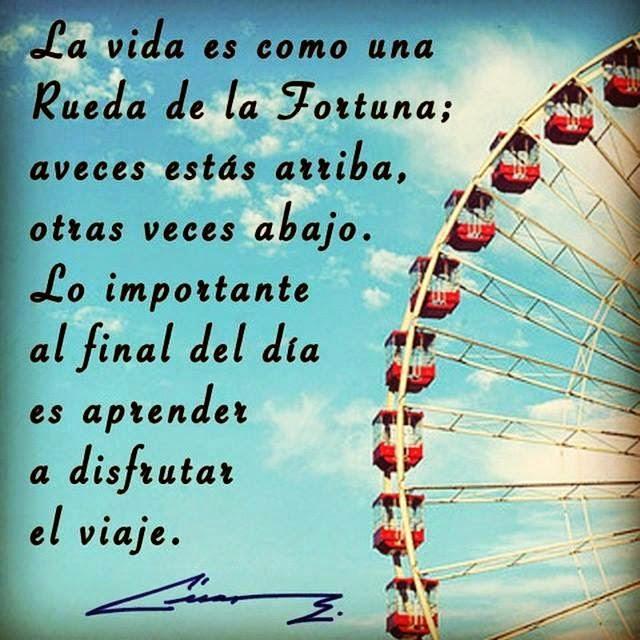 Frases de vida, rueda, fortuna, arriba, abajo, importante, final, día, aprender, disfrutar, viaje.