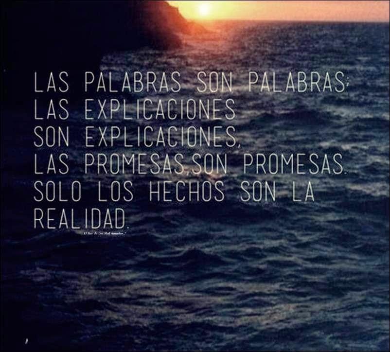 Frases de reflexión, palabras, explicaciones, promesas, hechos, realidad.