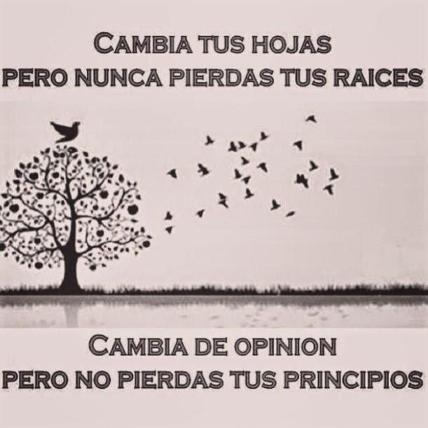 Cambia tus hojas, pero nunca pierdas tus raíces.  Cambia de opinión pero no pierdas tus principios.