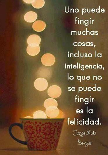 Uno puede fingir muchas cosas, incluso la inteligencia, lo que no se puede fingir es la felicidad.  Jorge Luis Borges