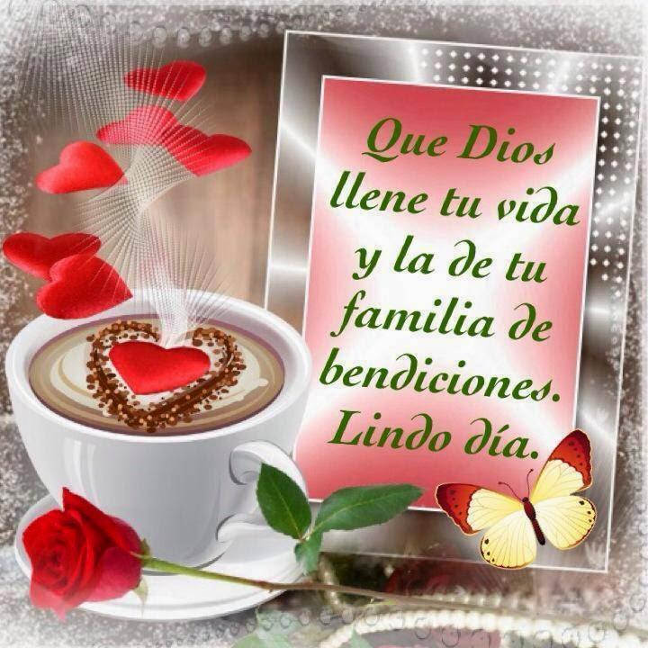 Imagen cristiana, Dios, llene, vida, familia, bendiciones, lindo, día.