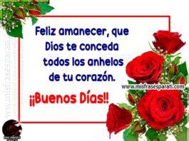 Feliz amanecer, que Dios te conceda todoslos anhelos de tu corazón. ¡Buenos días!