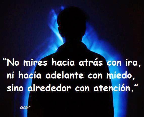 No mires hacia atrás con ira, ni hacia  adelante con miedo, sino alrededor con atención.