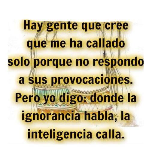 Donde la ignorancia habla, la inteligencia calla - Frases de reflexión