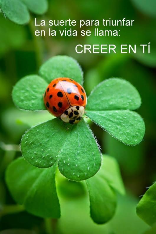 La suerte para triunfaren la vida se llama: CREER EN TI