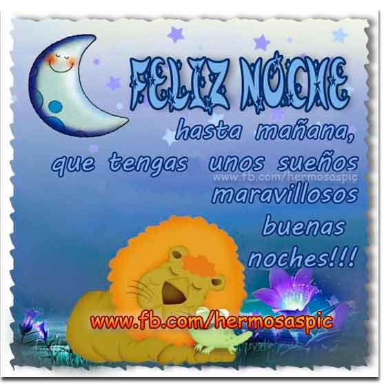 Feliz noche Hasta mañana, que tengas unos sueños maravillosos Buenas noches