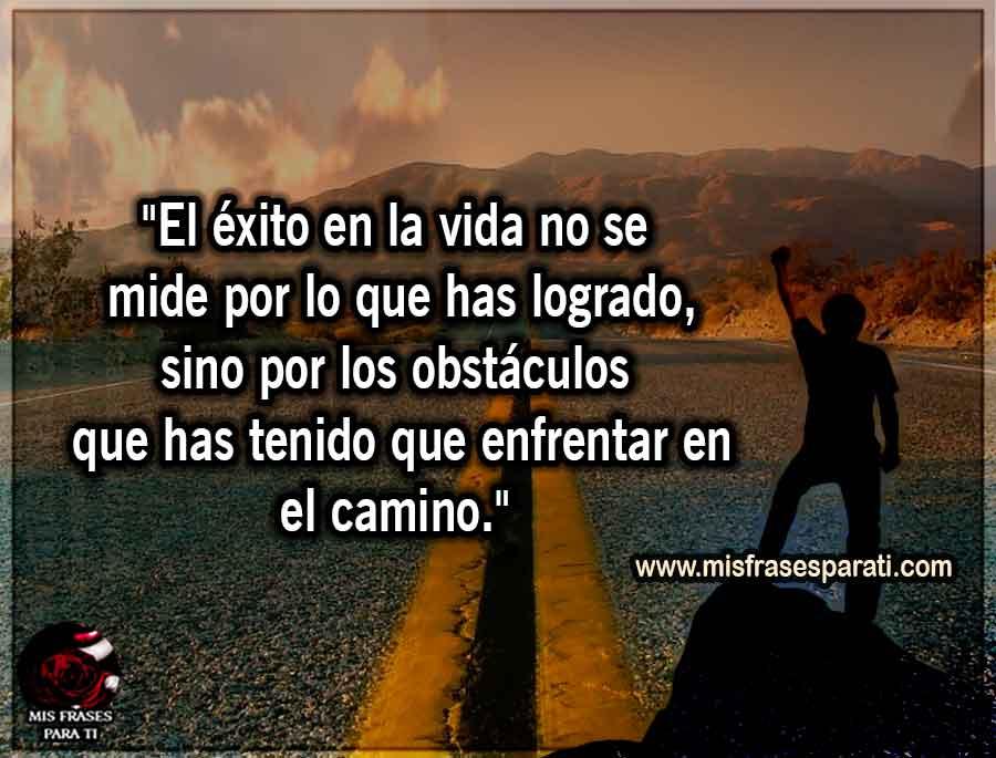 """""""El éxito en la vida no se mide por lo que has logrado, sino por los obstáculos que has tenido que enfrentar en el camino."""""""
