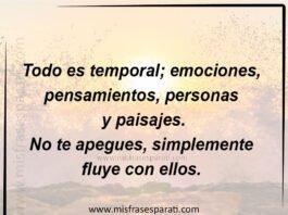 Todo es temporal; emociones,pensamientos, personas y paisajes. No te apegues, simplemente fluye con ellos.