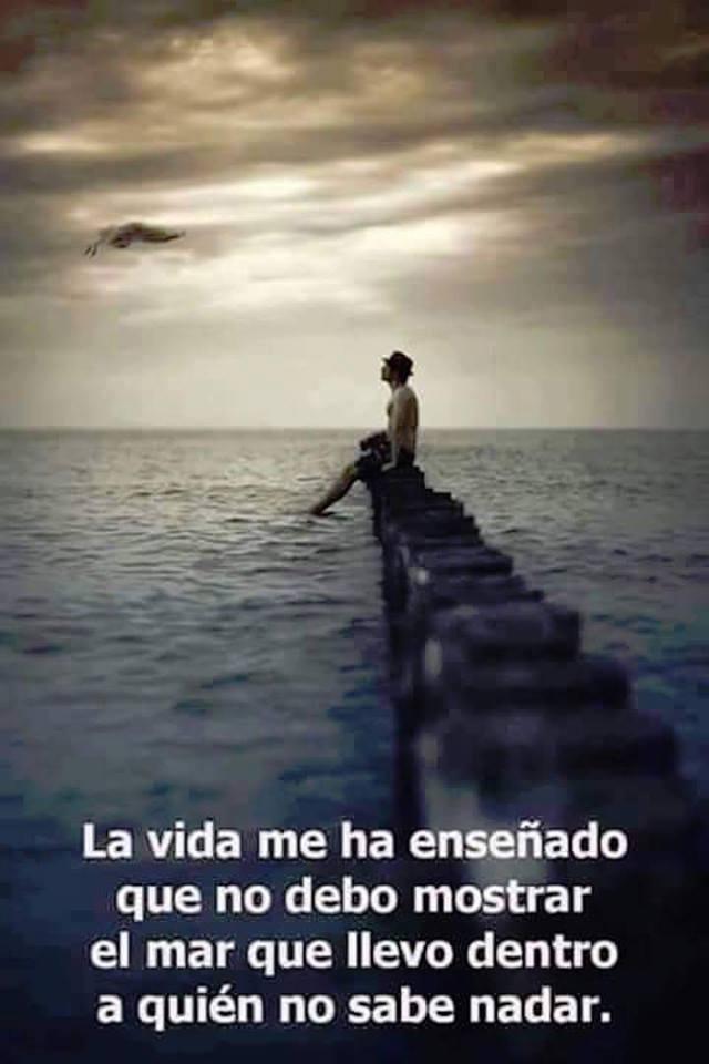 La vida me ha enseñado  que no debo mostrar el mar que  llevo dentro a quién no  sabe nadar.