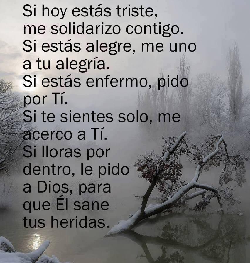 Si hoy estas triste, me solidarizo contigo. Si estás alegre, me uno a tu alegría. Si estás enfermo, pido por tí. Si te sientes solo, me acerco a tí. Si lloras por dentro, le pido a Dios,  para que el sane tus heridas.