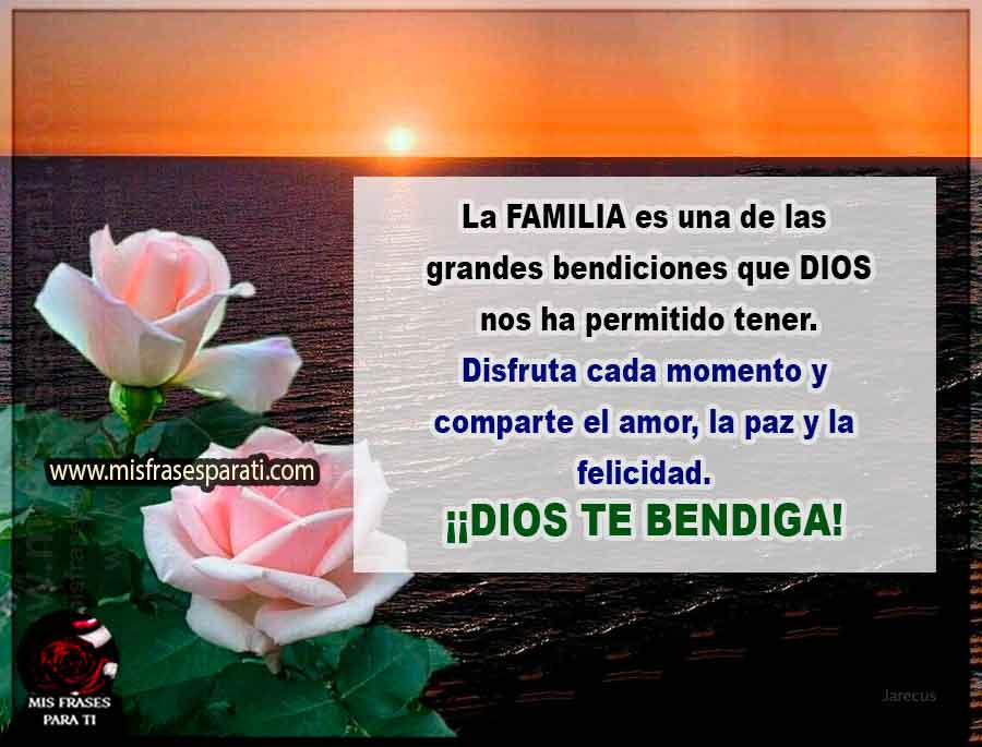 La FAMILIA es una de las  grandes bendiciones que DIOS  nos ha permitido tener.  Disfruta cada momento y  comparte el amor, la paz y la  felicidad.  ¡¡DIOS TE BENDIGA!