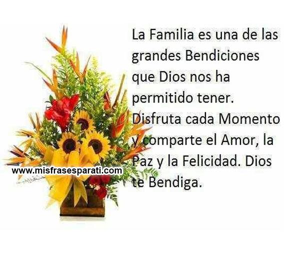 La familia es una de las grandes bendiciones que DIOS nos ha permitido tener.  Disfruta cada momento y comparte el amor, la paz y la felicidad.  Dios te bendiga.
