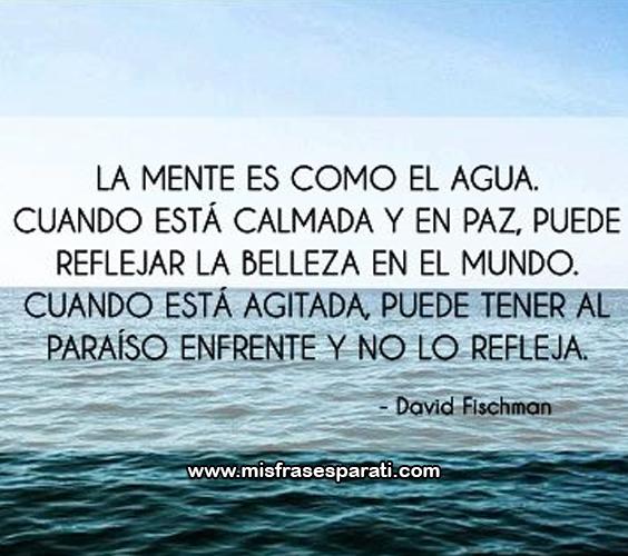 La mente es como el agua, cuando está calmada y en paz puede reflejar la belleza en el mundo. cuando está agitada, puede tener al paraíso enfrente y no lo refleja.