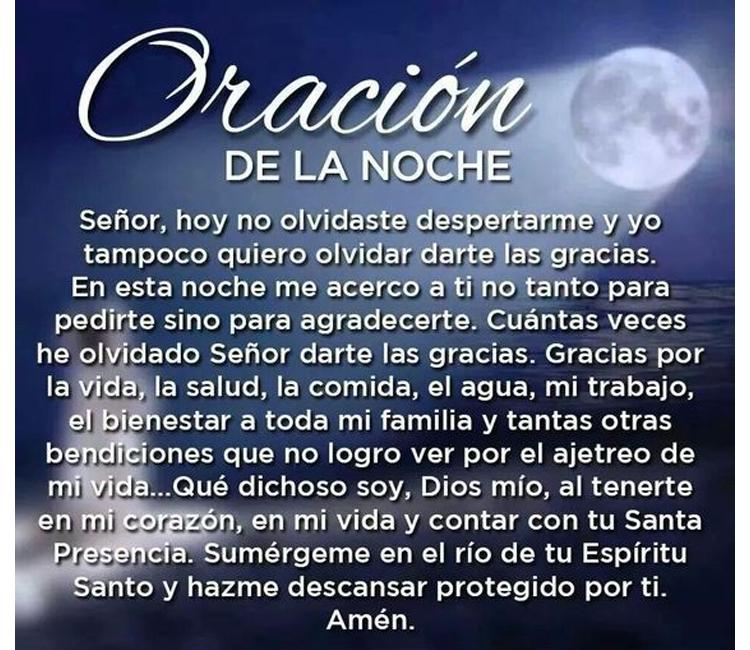 Oración de la noche, gracias Señor por la vida y la salud,