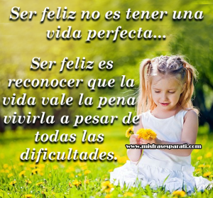 Ser feliz no es tener una vida perfecta