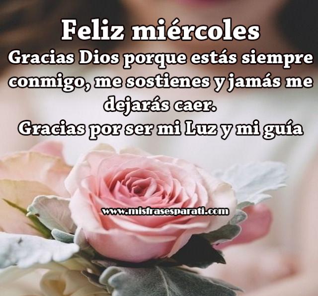 Feliz miércoles. Gracias Dios porque estás siempre conmigo, me sostienes y jamás me dejarás caer. Gracias por ser mi Luz y mi guía